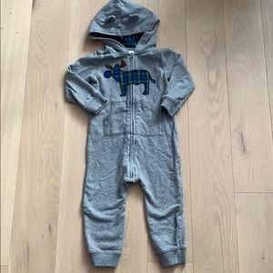 Carters Moose Hooded Zippered One Piece Sweat Suit